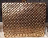 GOLD mesh clutch purse wallet Mesh-Mates Oromesh by Whiting & Davis in box