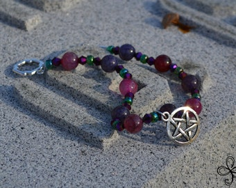 Purple and Pink Dragon's Vein Agate Pentacle Bracelet