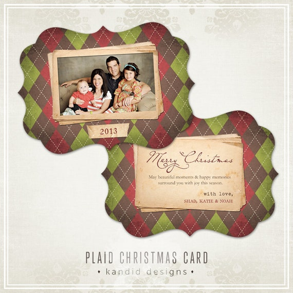 Plaid Ornate Christmas Card Templates