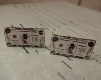 Vintage 100 Dollar Bill Cufflinks