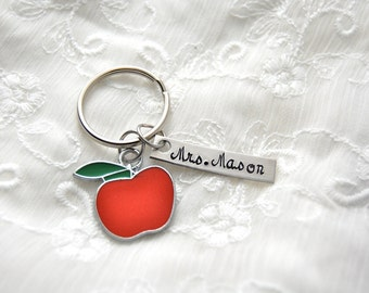 Teacher gift, personalized, apple charm, hand stamped tag keychain