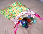 Cute Cotton Crystal Gemstone Tarot Card Pouch with Birds and Polka Dots