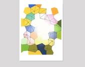 Geometric watercolor painting Colored diamonds watercolor print