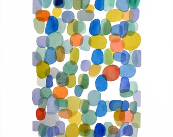 "Original abstract painting original watercolor large painting 18 x 24"" color dots summer spirit"