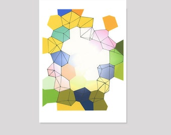 Geometric watercolor painting Colored diamonds watercolor print