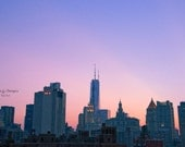 NYC Photography, Skyline at Sunset, Blue Purple and Pink, Sunset Home Decor, Manhattan Home Decor, Manhattan Skyline Sunset, Office Decor