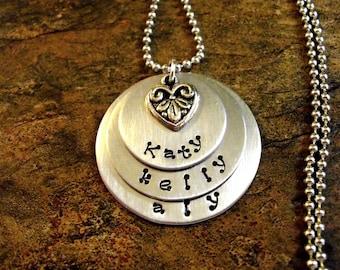 Personalized Jewelry, Mommy Jewelry, Hand Stamped Jewelry, 3 Discs
