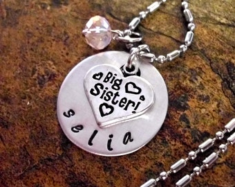Super Sale Now Personalized Jewelry, Big Sister Necklace, Big Sister Jewelry, Jewelry for Sister, Hand Stamped Jewelry