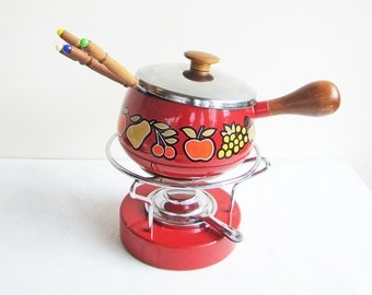 1970s Fondue Set, Cheese Fondant Pot, Bright Red Enamel Saucepan with Burner