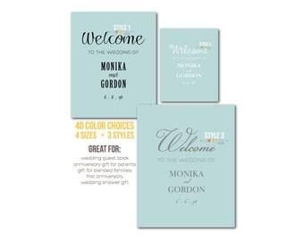 Welcome to the Wedding Art Display . Personalized . Reception Decor . Poster Print Sign