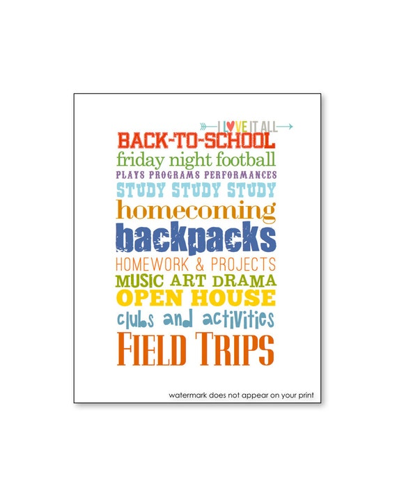 Back to school subway art poster print wall decor teacher for Back to school wall decoration