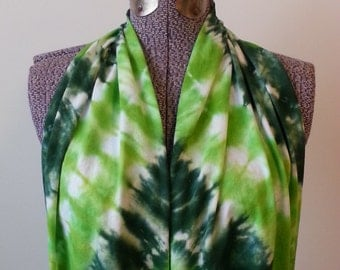 Tie Dye Infinity Scarf -- Forest and Granny Apple Green