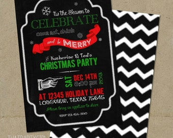 Chalkboard Holiday / Christmas Party Invitations DIY file U Print