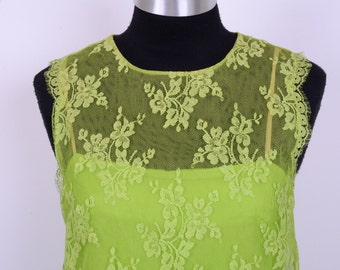 60's Absolutely Iconic I Wish My Mom Would Have Kept This Dress, Green Lace MOD Mini Shift