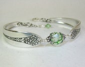 Customizable Spoon Bracelet, Peridot Crystals, Spoon Jewelry - 'Princess Royal' 1930
