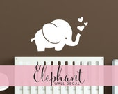 Cute Elephant Wall Decal - Baby Room Decal Hearts Wall Sticker - WAL-A155