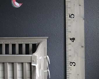 Oversized Ruler Growth Chart- vintage grey stain.