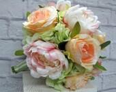 Ready to ship ~ Wedding bouquet Peach rose pink peony mint sage green Silk bridal bouquet