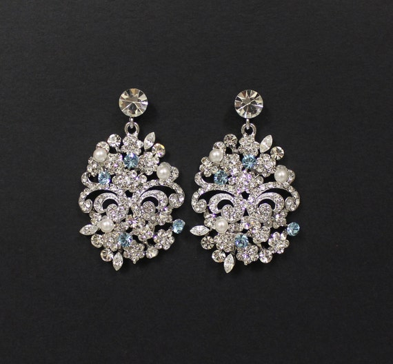 Crystal Bridal Earrings, Wedding,Statement Bridal Jewelry, Crystal Chandelier Bridal  Earrings, Bridal Accessories, Wedding Jewelry VICTORIA