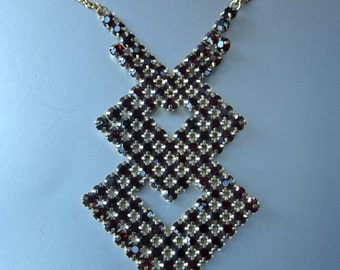 Garnet Necklace Chevron Cubist  Rhinestone Gold Chain 1940's Late Art Deco Czech