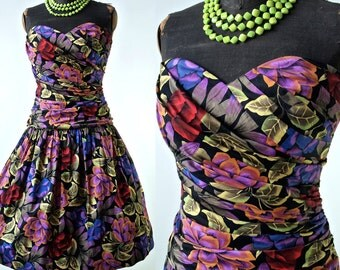 80's does 50's Dress Tropical Print Strapless Drop Waist Full Skirt Cotton Sundress size Small