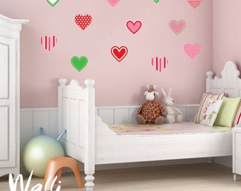 Hearts Wall art decal for girls room decor