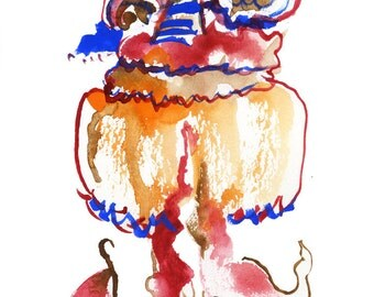 """Original Small Watercolor Figure Artwork, Abstract Fashion Painting, Surreal Gouache Painting, 6"""" x 6"""" - 104"""