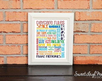 DIGITAL FILE - Daycare Rules - Primary Colors with Daycare Rules on top - Great Gift for Daycare Teacher or Daycare Provider