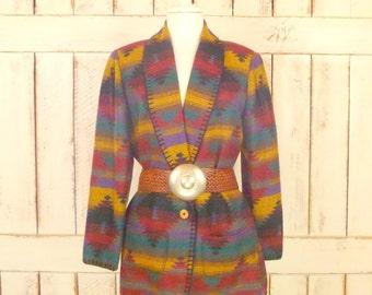 Vintage woven multicolored Southwestern blazer/Navajo print jacket/tribal blazer