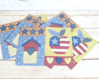 Vintage all American patchwork cotton placemats/Fourth of July USA place mats/stars and stripes