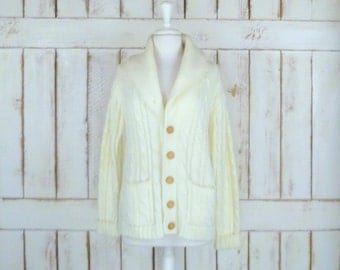 Ivory chunky cotton cableknit cardigan sweater/knit boyfriend sweater/cabin sweater
