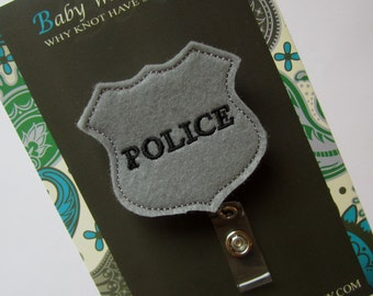 Retractable ID Badge Holder, Police Badge ID Badge Reel, Nurse, Doctor, Teacher, idbadge80