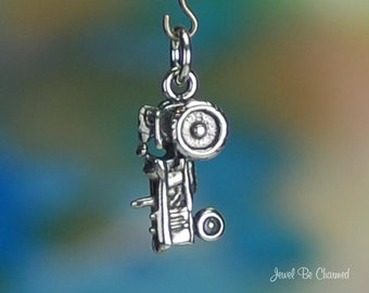Sterling Silver Tractor Charm Country Farm Harvest Theme 3D Solid .925