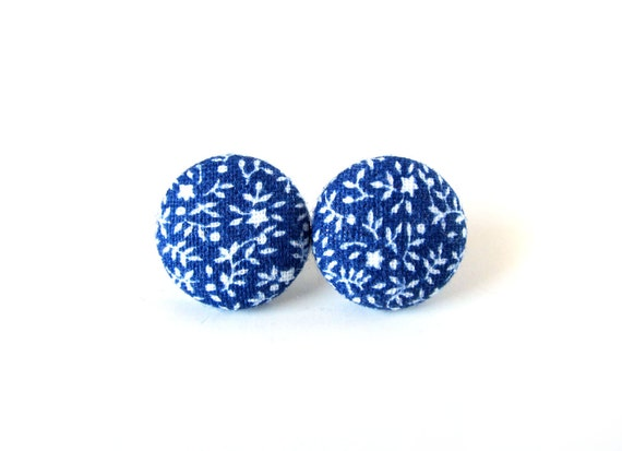 Cobalt blue floral stud earrings  - tiny button earrings - fabric covered earrings - romantic flowers