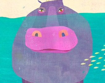 Underwater Hippo // Canvas Art Print // Children's Room Decor