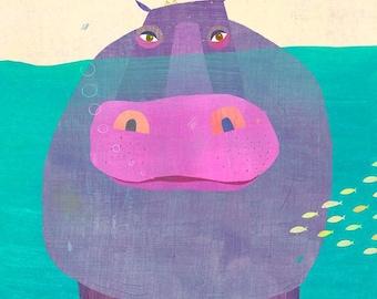 "Underwater Hippo, Canvas Print 18"" x 24"""