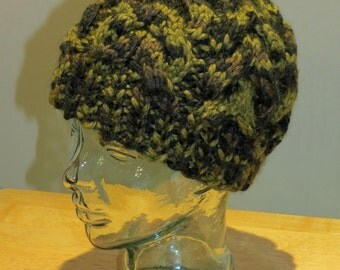 Hand Knit Cable Beanie Hat- Jungle