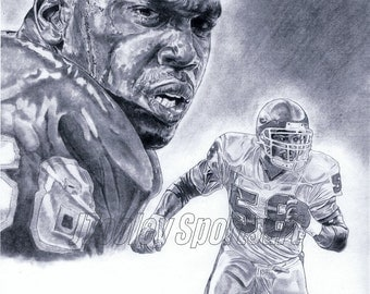 Derrick Thomas of Kansas City Chiefs Art poster