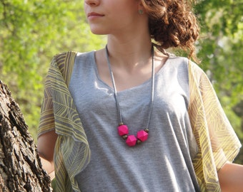 minimalist bright pink necklace // geometric // modern // polygon // wood