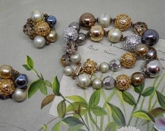 Vintage Signed VOGUE Baroque Pearl, Filigree, Crystal Bead  Bracelet & Earrings Set