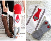 1st Valentine  Baby Boy Tie and Suspenders Bodysuit with Heart Applique & Red Heart Leg Warmers Outfit Gray Corduroy Heart 1st Birthday