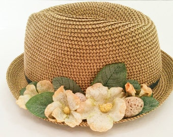 Beach hats with bright yellow flower, Fedora hat,, Straw hat, Sun hat, Hats for women
