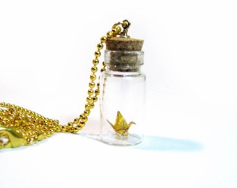 Origami Crane Necklace Vial Pendant Gold on Gold