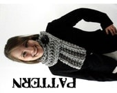 PDF Pattern - Chunky Knit Ribbed Cowl Scarf with Button Pattern