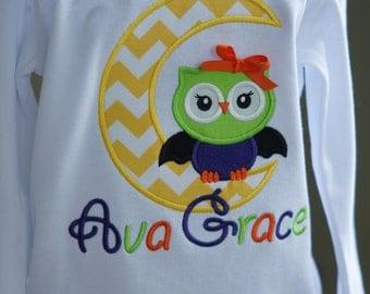 Halloween Owl With Bat Wings Moon Toddler Tee Shirt - Halloween - Green, Orange, Purple - Child - Girl