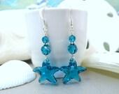 Blue Swarovski Crystal Starfish Sterling Silver Sea Breeze Dangle Earrings - Christmas Gift Ocean Starfish Bridal Earrings