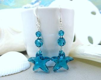 Blue Swarovski Crystal Starfish Sterling Silver Sea Breeze Dangle Earrings - Bridesmaid Gift Ocean Starfish Bridal Beach Wedding