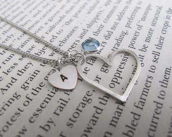 Heart Charm Necklace // initial necklace // birthstone necklace // heart necklace // love // personalized necklace // girlfriend