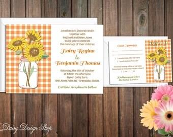 Wedding Invitation - Sunflowers, Mason Jar, and Gingham - Invitation and RSVP Card with Envelopes