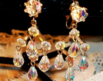 Vintage CRYSTAL DANGLES, Exquisite AB Swarovski Briolettes & Flowers, Gold Tone Clip Ons, Faceted Elegance 4 Any Occasion!